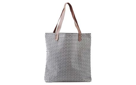 House Doctor Nákupní taška Paran, černá barva, bílá barva, plast