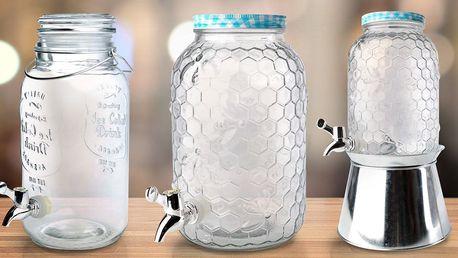 Skleněné nádoby s kohoutkem o objemu 3,5 a 4 litry