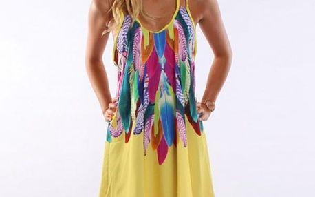 Krátké šaty s pírky - různé barvy