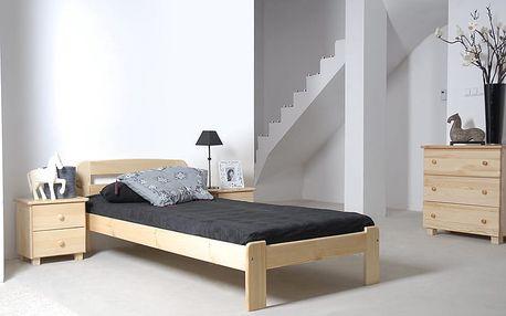 Dřevěná postel Sara 90x200 + rošt ZDARMA borovice