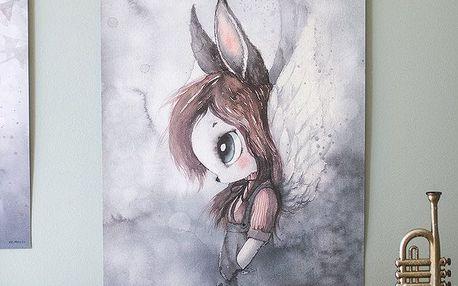 MRS. MIGHETTO Plakát MISS BELLA 50 x 70 cm - Limited Edition, šedá barva, papír