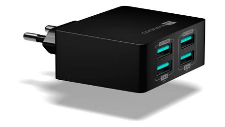 Nabíječka do sítě Connect IT Fast Charge 4x USB, 4,8A s funkcí rychlonabíjení černá (CWC-4010-BK)