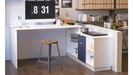 Kancelářský stůl, bílá/šedá, DALTON NEW