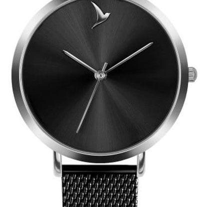 Dámské hodinky s černým páskem z nerezové oceli Emily Westwood Black