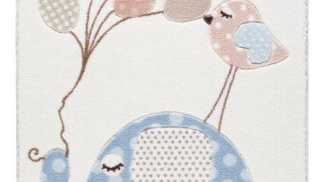 Dětský světle modrý koberec Confetti Spotty Elephant, 133x190cm