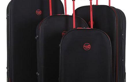 Sada 4 černých cestovních kufrů na kolečkách Travel World