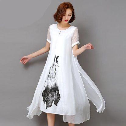 Šaty s abstraktním motivem - 2 barvy