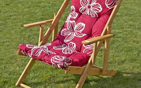 Tradgard BORNEO 31400 dřevěné lehátko - fialové květy