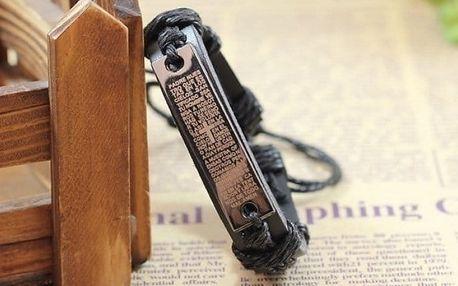 Univerzální černý kožený náramek s originálním přívěskem