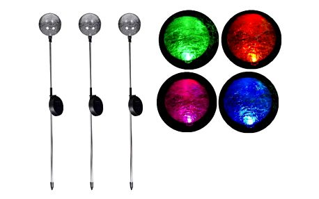 Garthen 751 Zahradní sada solárních LED lamp - 3 skleněné koule s barevnou změnou