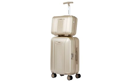 Set béžového kosmetického kufříku a kufru na kolečkách Murano Spider