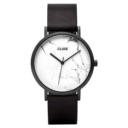 CLUSE Hodinky Cluse La Roche Full Black/white Marble, černá barva, kůže, mramor