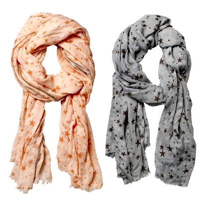 Bloomingville Šátek Small stars Lososová, růžová barva, oranžová barva, šedá barva, textil