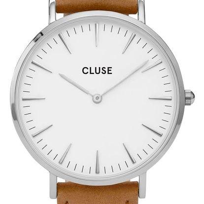 CLUSE Hodinky Cluse La Bohéme Silver white/caramel, bílá barva, hnědá barva, sklo, kov, kůže