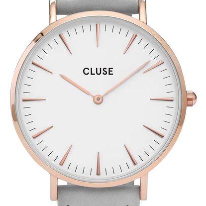 CLUSE Hodinky Cluse La Bohéme Rose Gold white/grey, šedá barva, bílá barva, sklo, kov, kůže