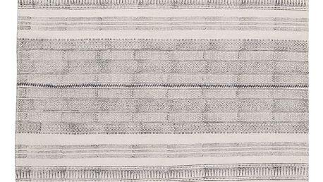 IB LAURSEN Bavlněný koberec Block black 120x180, černá barva, bílá barva, textil