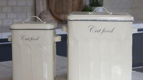 Chic Antique Plechový box na granule Cat Food Menší, krémová barva, kov