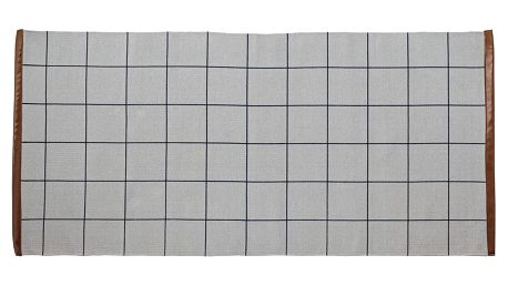 Bloomingville Bavlněný kobereček Cool Grey Checks, modrá barva, béžová barva, šedá barva, textil
