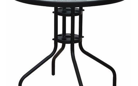 Jídelní stůl vhodný, černá ocel / temperované sklo, BORGEN TYP 2 0000194810 Tempo Kondela