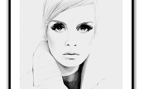 Magdalena Tyboni DESIGN Plakát Grey Twiggy 50 x 70 cm, šedá barva, černá barva, papír