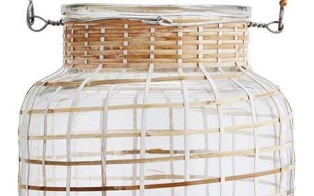 MADAM STOLTZ Skleněná lucerna Clear/bamboo, čirá barva, přírodní barva, sklo, dřevo