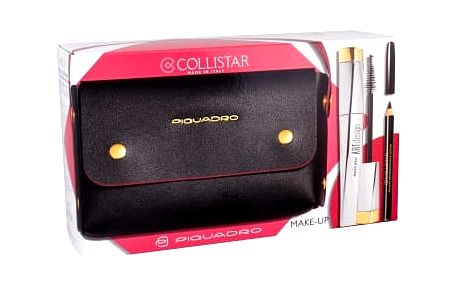 Collistar Art Design dárková kazeta pro ženy řasenka 12 ml + tužka na oči 2 g Black + kabelka Black