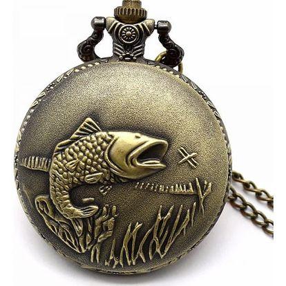 Vintage kapesní hodinky s rybářským motivem