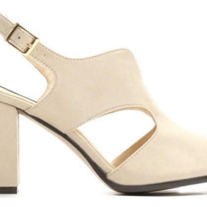 Dámské béžové sandály na podpatku Cassiopea 2210