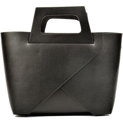 Černá kožená kabelka Carla Ferreri Cross