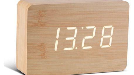 Světle hnědý budík s bílým LED displejem Gingko Brick Click Clock