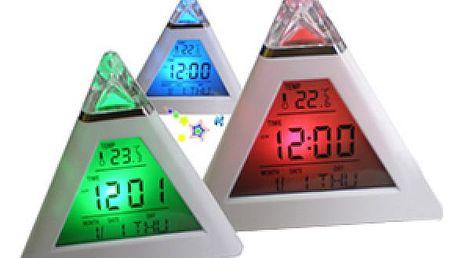 LCD digitální budík s podsvícením ve tvaru pyramidy s teploměrem