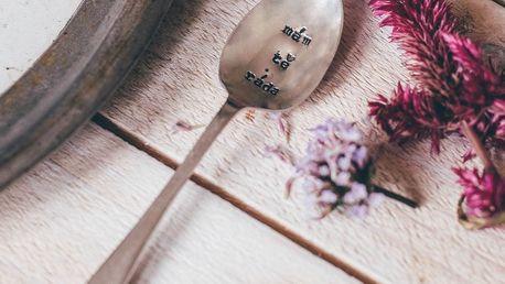 La de da! Living Postříbřená čajová lžička Mám tě ráda, stříbrná barva, kov