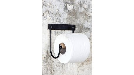 IB LAURSEN Držák na toaletní papír Black/Wood, černá barva, dřevo, kov