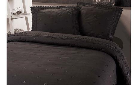 Tmavě šedé povlečení z mikroperkálu na dvoulůžko Sleeptime Rio, 240x220cm