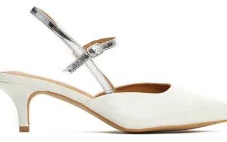 Dámské bílé sandály na podpatku Vinnie 8430