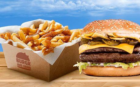 Burger jako kráva: 2 burgery + velké hranolky