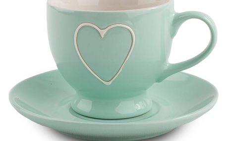 Keramický šálek s podšálkem Heart 210 ml, sv. zelená