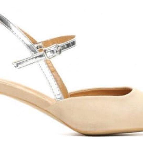 Dámské béžové sandály na podpatku Vinnie 8430