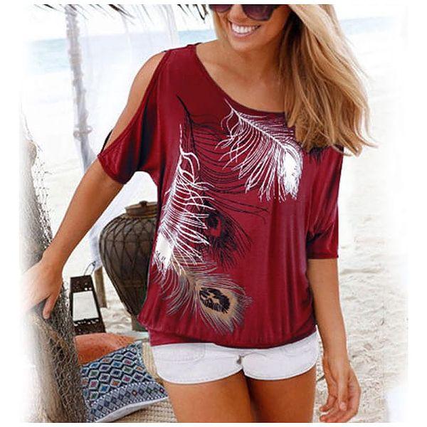 Dámské tričko s pírky a odhalenými rameny - 9 barev