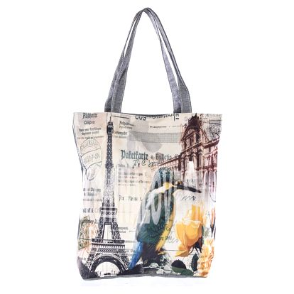 Fashion Icon Plátěná taška velkoměsta Paříž Kolibřík s žlutou kytkou
