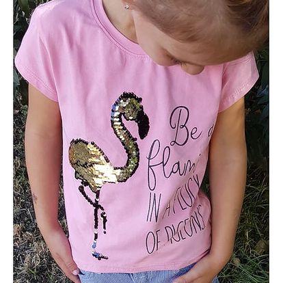 Dívčí tričko s plameňákem Be Flamingo