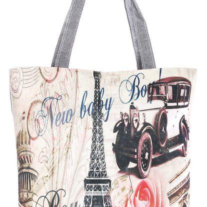 Fashion Icon Plátěná taška velkoměsta Paris Retro car