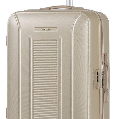 Béžový kufr na kolečkách ve stříbrné barvě Murano Meridian, 65 x 40 cm