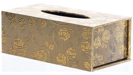 Krabička na papírové kapesníky Gold Roses růže