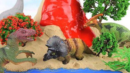 Dinosaurus líhnoucí se ze sopky