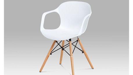 Jídelní židle bílý strukturovaný plast / natural ALBINA WT Autronic