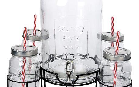 Dávkovač nápojů, stojan + 4 x skelnice se slámkou EH Excellent Houseware