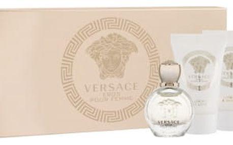 Versace Eros Pour Femme dárková kazeta pro ženy parfémovaná voda 5 ml + sprchový gel 25 ml + tělové mléko 25 ml miniatura