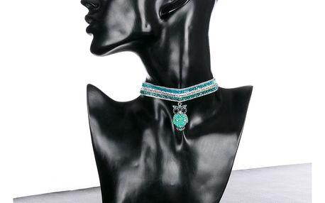 Fashion Icon Náhrdelník krajkový choker Sova s krystalky