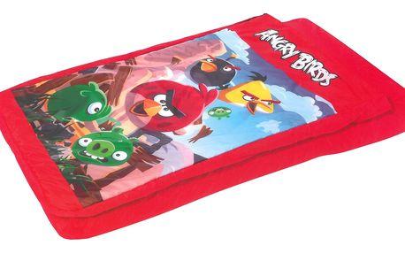 Nafukovací postel s motivem Angry Birds se spacím pytlem